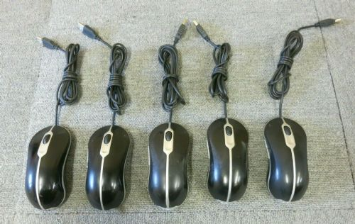 5 x Dell 0MY897 832205-0000 Black USB Wired 4 Button Optical Scroll Wheel Mouse